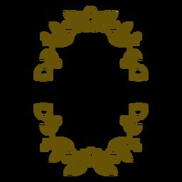 Oval floral frame stroke design