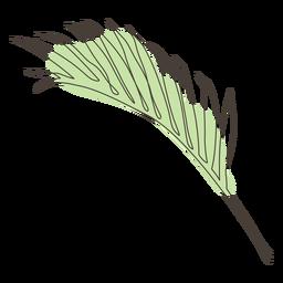 Diseño de dibujo lineal de hoja de palma