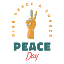 Peace day sign badge