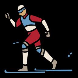 Handgezeichnetes Design des Personenskifahrens