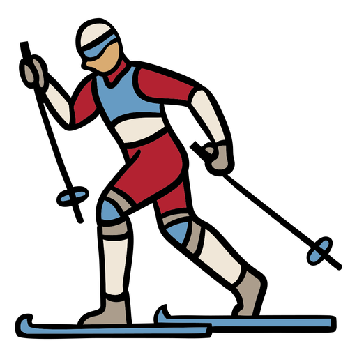 Diseño dibujado a mano persona esquí Transparent PNG