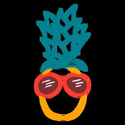 Mão fresca de óculos de sol rpunded de abacaxi desenhada