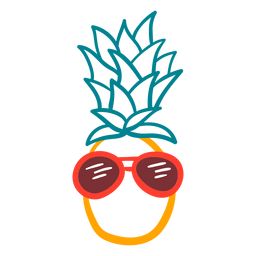 Pineapple cool rpunded sunglasses hand drawn