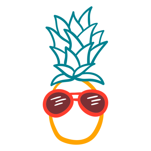 Pineapple cool rpunded sunglasses hand drawn Transparent PNG