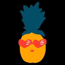 Dibujado a mano piña corazón gafas de sol
