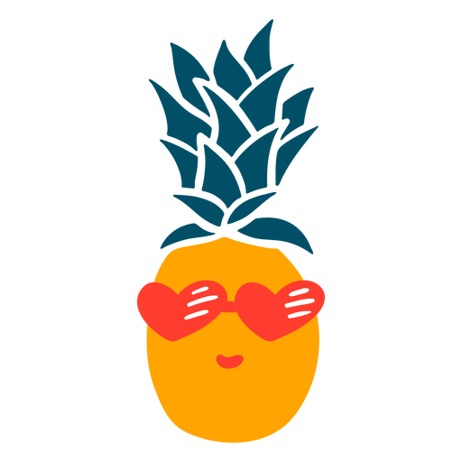 Pineapple heart sunglasses hand drawn Transparent PNG