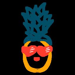 Diseño de dibujado a mano de gafas de sol de corazón de piña