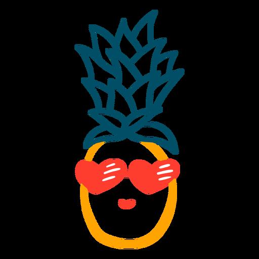 Pineapple heart sunglasses hand drawn design Transparent PNG