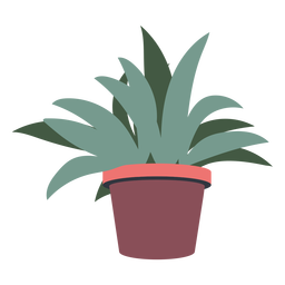 Pointed leaves plant pot flat