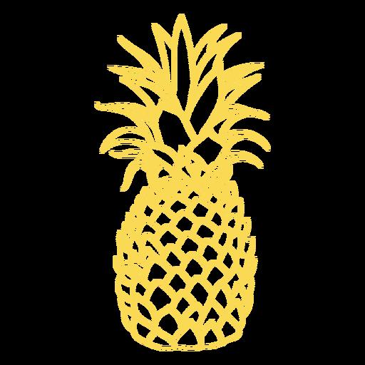Desenho realista de traçado de abacaxi Transparent PNG
