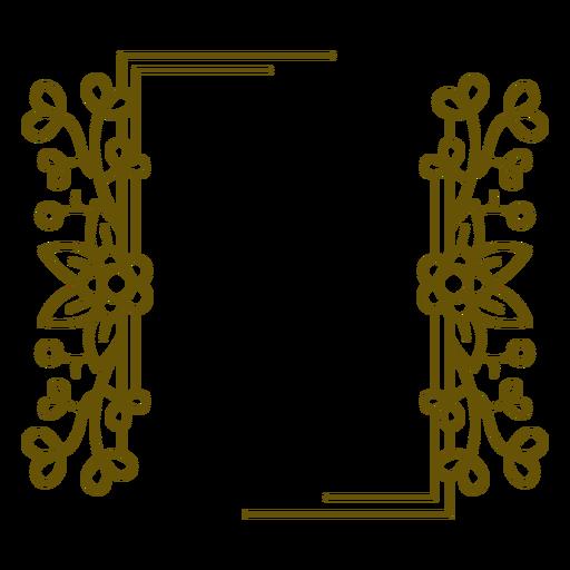 Rectangular frame floral design