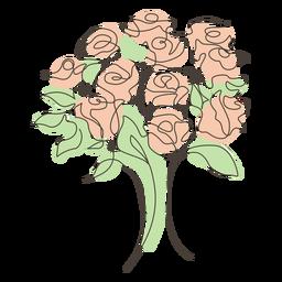 Desenho de linha buquê de rosa