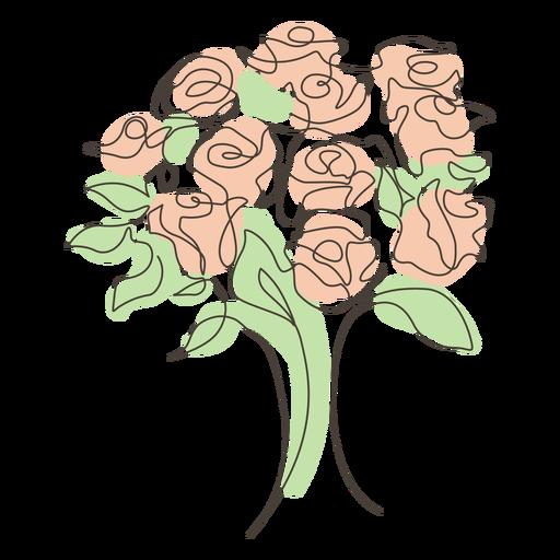 Desenho de linha de buquê de rosas