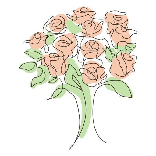 Rose bouquet line drawing