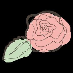 Trazo de dibujo lineal de flor rosa