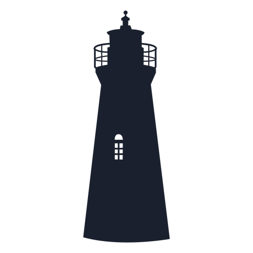 Round tower lighthouse silhouette
