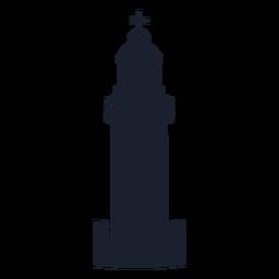 Silhueta superior do farol torre redonda