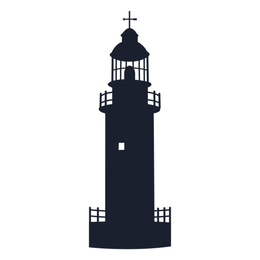 Round tower lighthouse top silhouette