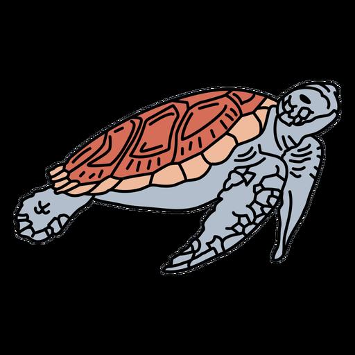 Golpe de vida marina de tortuga marina