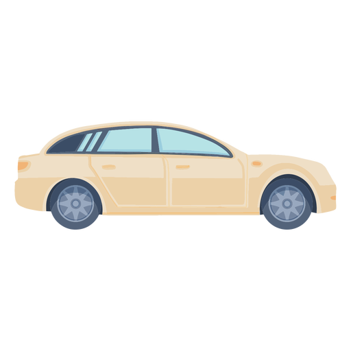 Vista lateral del coche sedán plana