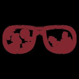 Escudo tipo óculos de sol pássaro tropical plana