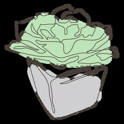 Dibujo lineal de maceta llamativa