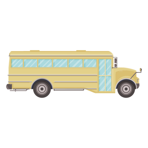 Vista lateral icono plano de autobús escolar Transparent PNG