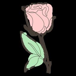 Desenho de linha única rosa frondosa