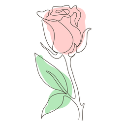 Single leafy rose line drawing