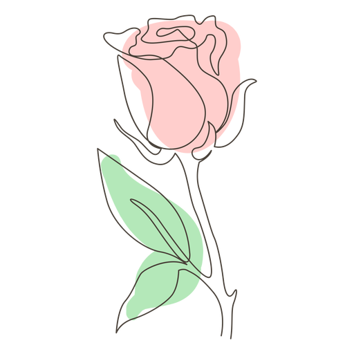 Dibujo lineal de una sola rosa frondosa Transparent PNG