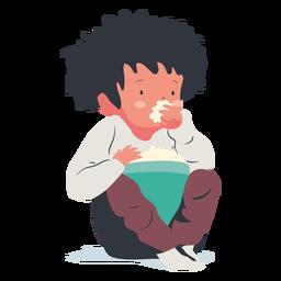 Menino sentado comendo pipoca plana