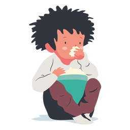 Niño sentado comiendo palomitas de maíz planas