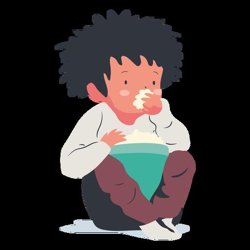 Sitting boy eating popcorn flat