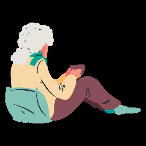 Señora sentada tomando café plana Transparent PNG