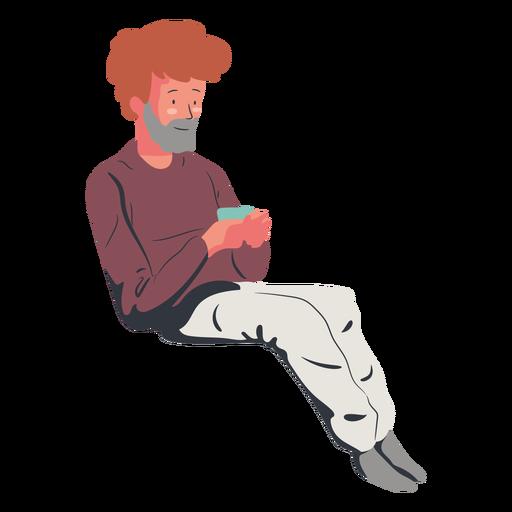 Sitting man drinking coffee flat