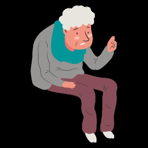 Sentado anciano levant? la mano plana
