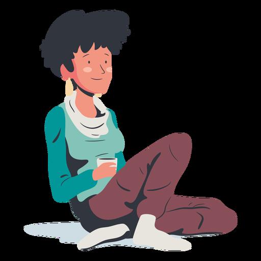 Mujer sentada tomando café plana Transparent PNG