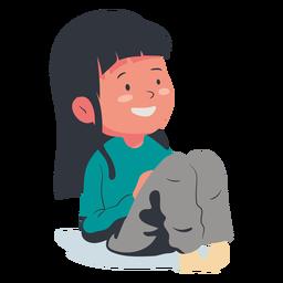 Carácter de niña sonriente plana