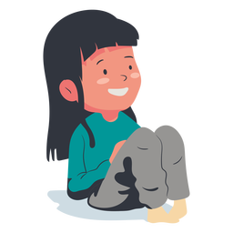 Smiling girl character flat