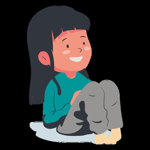 Smiling girl character flat