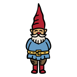 Smiling gnome hand drawn