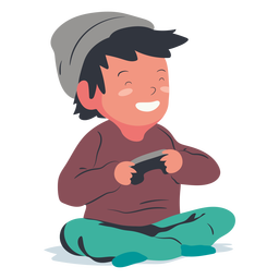 Smiling playing video games boy flat