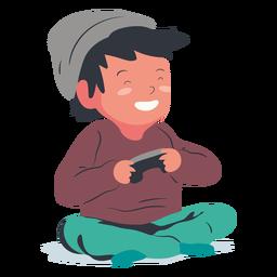 Sorrindo, jogando videogame, menino, apartamento