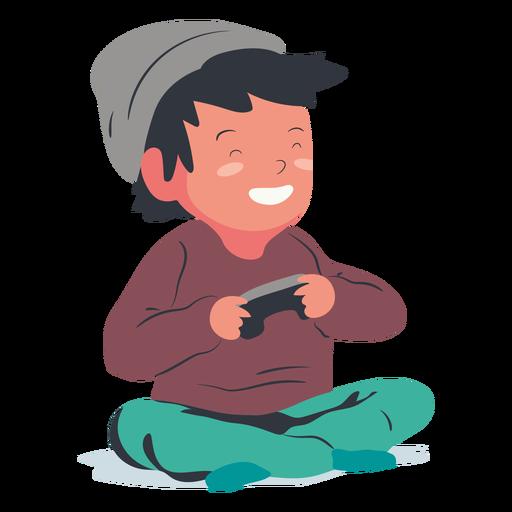 Smiling playing video games boy flat