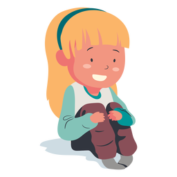 Smiling sitting girl character flat