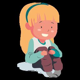 Sonriente personaje de niña sentada plana