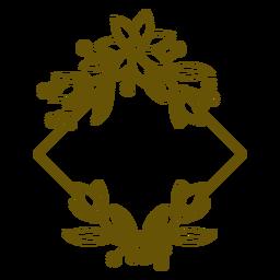 Curso botânico de quadro floral quadrado
