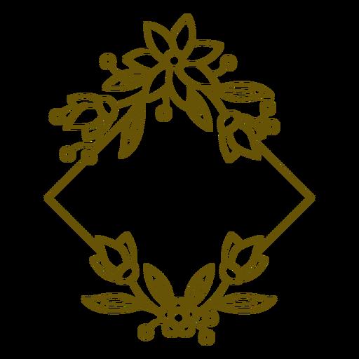 Square floral frame botanic stroke
