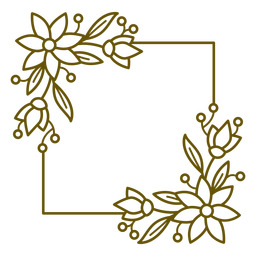 Trazo botánico de marco cuadrado
