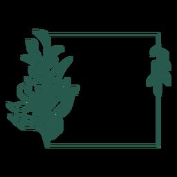 Design de vinil frondoso com ornamento quadrado